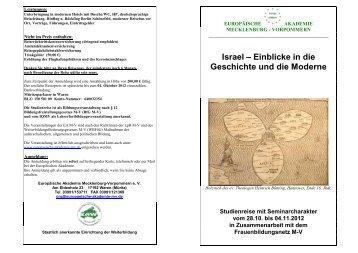 Israel – Einblicke in die Geschichte und die Moderne - Europäische ...