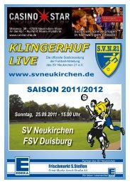 Sonntag, 25.09.2011 - 15.00 Uhr SV Neukirchen FSV Duisburg