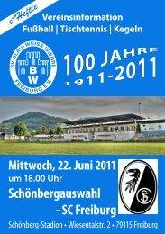 Heftle zum Spiel Schönbergauswahl - SC Freiburg am 22.06