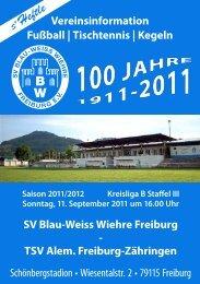11.09.2011 SV Blau-Weiss Wiehre gegen TSV