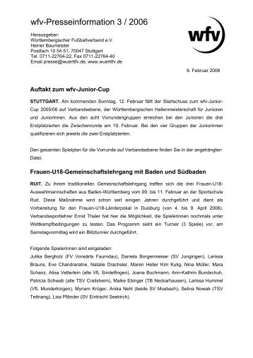 wfv-Presseinformation 3 / 2006