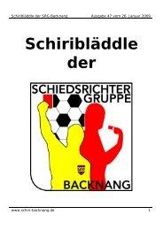 Schiri- Bläddle vom 26.01.2009 - der Schiedsrichtergruppe Backnang