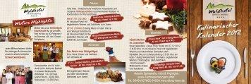Kulinarischer Kalender 2012 - Waldhotel am Notschreipass