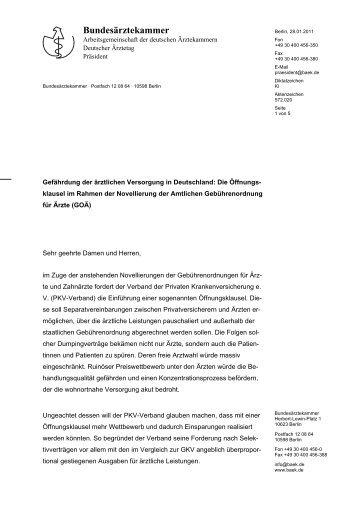 Schreiben an die Abgeordneten.pdf - Bundesärztekammer