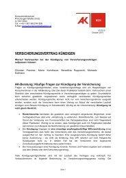 VERSICHERUNGSVERTRAG KÜNDIGEN - Arbeiterkammer Wien