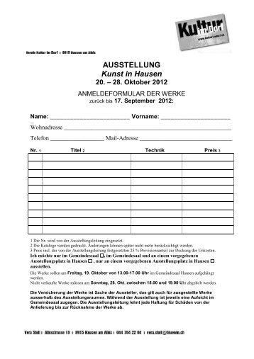 AUSSTELLUNG Kunst in Hausen 20. – 28. Oktober ... - Kultur im Dorf