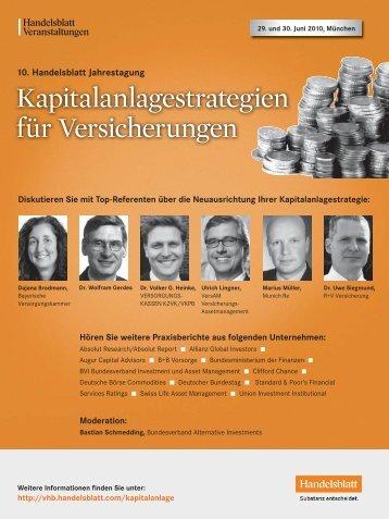 Kapitalanlagestrategien für Versicherungen - IIR Deutschland GmbH