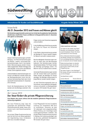 Aktuelle Ausgabe als PDF - SüdwestRing Versicherungsmakler GmbH