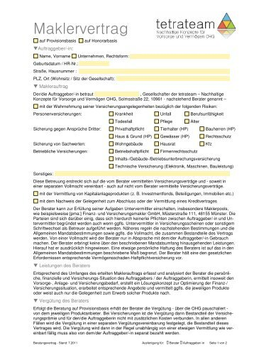 Maklervertrag - tetrateam