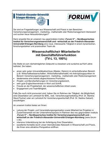 Stellenausschreibung.. - Prof. Dr. Martina Steul-Fischer ...
