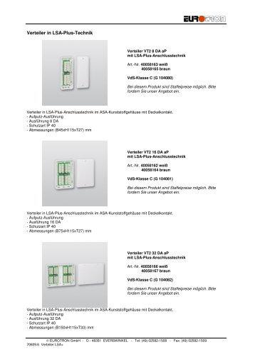 3 LSA+ Verteiler - Eurotron Sicherheitstechnik GmbH