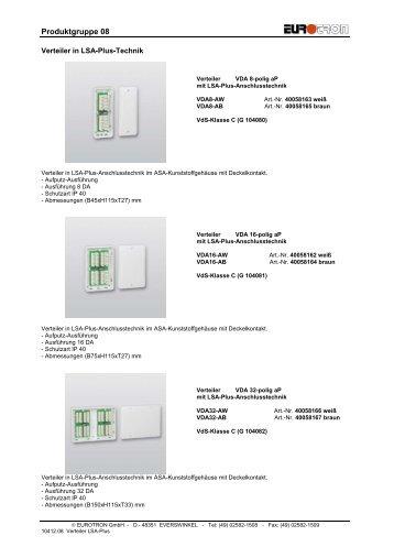 Bildliste Verteiler LSA-Plus 2012 - Eurotron Sicherheitstechnik GmbH