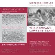 THE COMPANY LAWYERS TEAM® - NIETZER & HÄUSLER ...