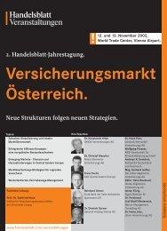 2. Handelsblatt-Jahrestagung. Versicherungsmarkt Österreich.