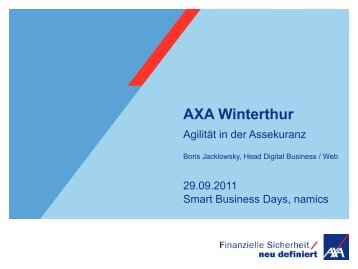 Für den Anbieter ist Agilität Trumpf - AXA Winterthur - Namics