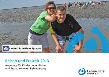 Reise-und Freizeitkatalog 2013 - Lebenshilfe Bremen e.V.