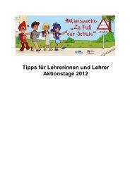 Tipps für Lehrer und Lehrerinnen 2012 - Zu Fuß zur Schule