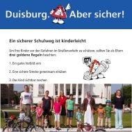 Ein sicherer Schulweg ist kinderleicht - Bürgerstiftung Duisburg