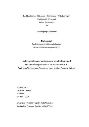 Dokumentation zur Vorbereitung, Durchführung - Hochschule ...