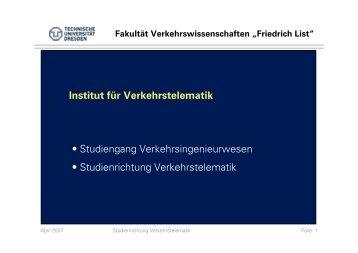 Studienrichtung Verkehrstelematik - FSR Verkehr