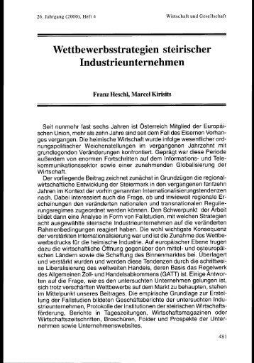 Wettbewerbsstrategien steirischer Industrieunternehmen