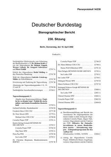Stenographischer Bericht 230. Sitzung - Deutscher Bundestag