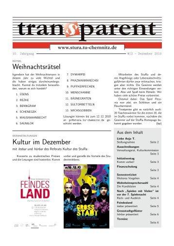 Weihnachtsrätsel Kultur im Dezember - StuRa