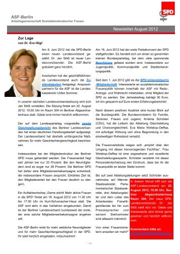 ASF-Berlin Newsletter August 2012