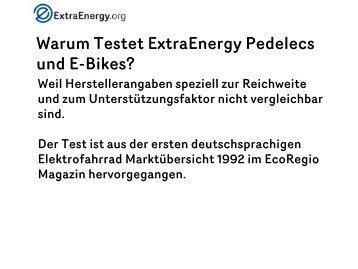 Warum Testet ExtraEnergy Pedelecs und E-Bikes? - the Go Pedelec!
