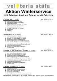 Aktion Winterservice 20% Rabatt auf Arbeit und Teile bis ... - Veloteria