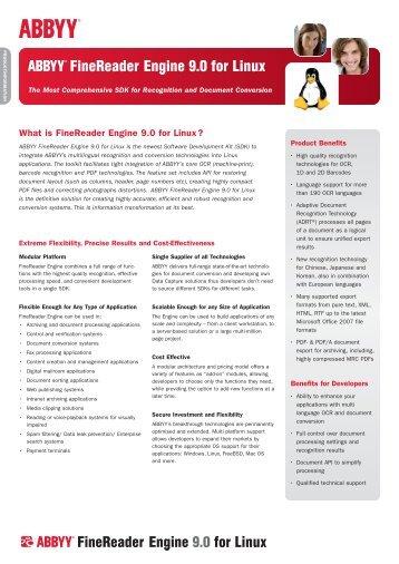 ABBYY FineReader Engine 9 for Linux Englisch - ABBYY Developer ...