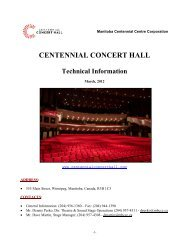 Technical Information Table of Contents - Centennial Concert Hall