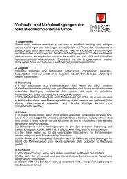 Verkaufs- und Lieferbedingungen der Rika Blechkomponenten GmbH