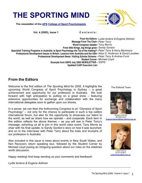 Issue 1, 2005 - APS Member Groups - Australian Psychological ...
