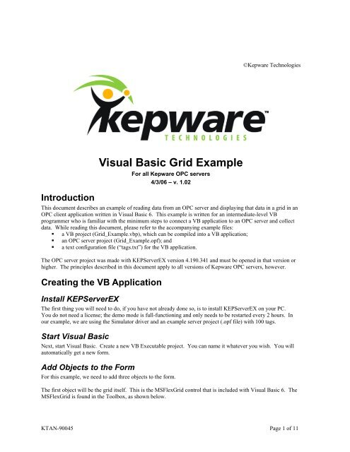 Visual Basic Grid Example - Kepware Technologies