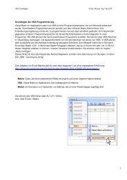 1 Grundlagen der VBA-Programmierung Visual Basic for ... - Franz Ertl
