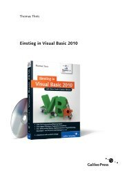 Einstieg in Visual Basic 2010 (PDF) - Galileo Computing