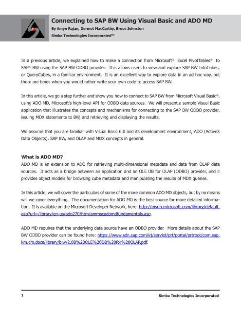 Connecting to SAP BW Using Visual Basic and ADO MD - Simba