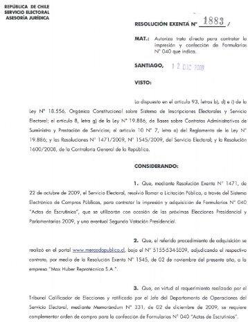 RESOLUCiÓN EXENTA N° 1883 / MAT.: Autoriza trato directo para ...
