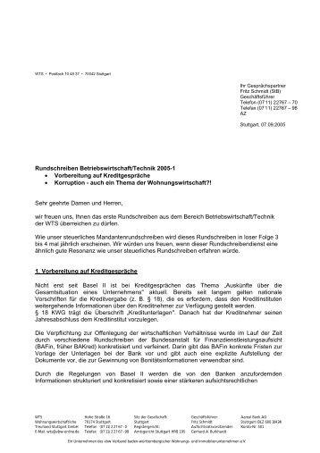 Themen: Kreditgespräche, Korruption - WTS Stuttgart