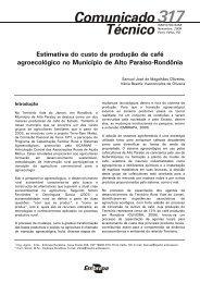 Estimativa do custo de produção de café agroecológico - Embrapa ...