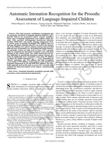 Automatic Intonation Recognition for the Prosodic Assessment of - ISIR