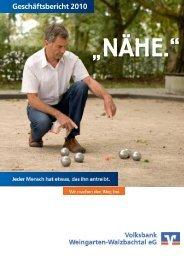 Geschäftsbericht 2010 - Volksbank Stutensee-Weingarten eG