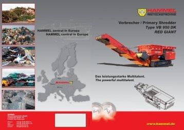 Vorbrecher / Primary Shredder Type VB 950 DK RED GIANT