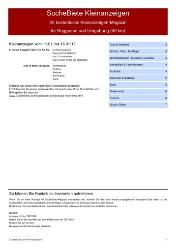 SucheBiete Kleinanzeigen-Magazin Roggosen - Kostenlose ...