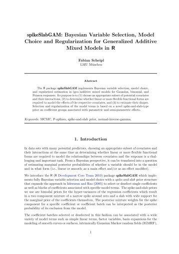 spikeSlabGAM: Bayesian Variable Selection ... - Institut für Statistik