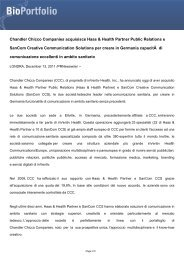 Chandler Chicco Companies acquisisce Haas ... - BioPortfolio
