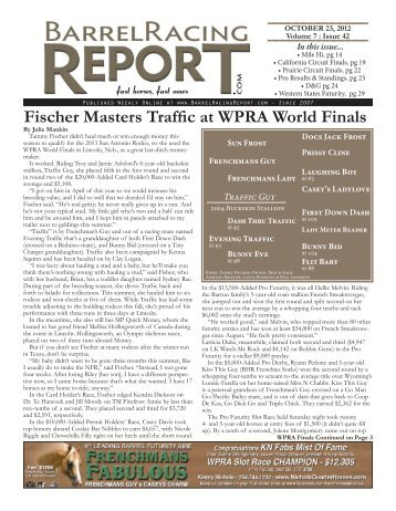 Fischer Masters Traffic at WPRA World Finals - Barrel Racing Report