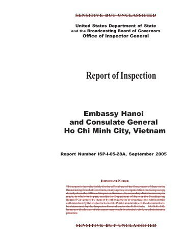 Embassy Hanoi and Consulate General Ho Chi Minh - OIG - US ...