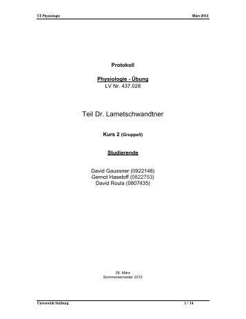 Protokoll 1 - StV Biologie Salzburg